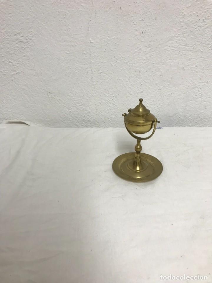 QUINQUE DE ACEITE DE BRONCE, MUY DECORATIVO! (Antigüedades - Iluminación - Lámparas Antiguas)