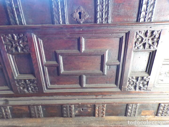 Antigüedades: antiguo arcon de madera caja de novia catalana lerida o tarragona cuarterones en buen estado general - Foto 8 - 287998663