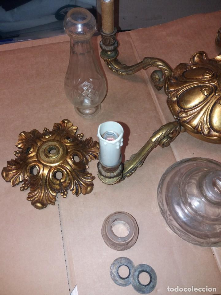 Antigüedades: LAMPARA DE BRONCE DESMONTADA, AÑOS 20 -30. VER FOTOS - Foto 3 - 288005463