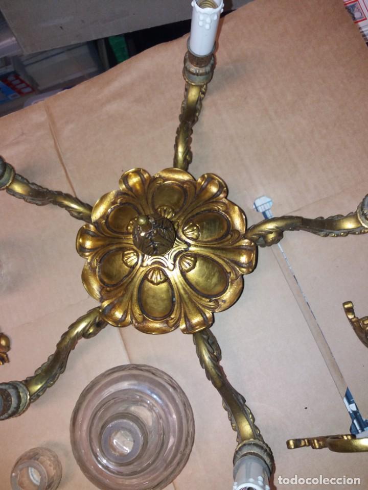 Antigüedades: LAMPARA DE BRONCE DESMONTADA, AÑOS 20 -30. VER FOTOS - Foto 4 - 288005463