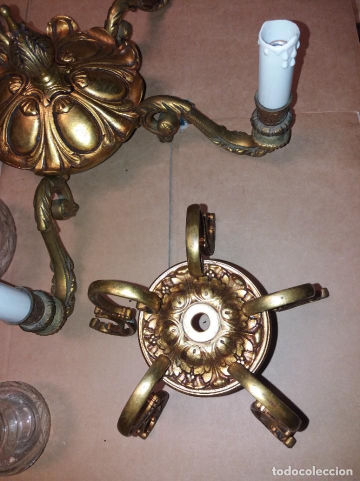 Antigüedades: LAMPARA DE BRONCE DESMONTADA, AÑOS 20 -30. VER FOTOS - Foto 5 - 288005463