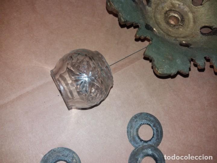 Antigüedades: LAMPARA DE BRONCE DESMONTADA, AÑOS 20 -30. VER FOTOS - Foto 8 - 288005463