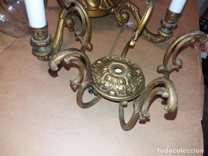 Antigüedades: LAMPARA DE BRONCE DESMONTADA, AÑOS 20 -30. VER FOTOS - Foto 10 - 288005463