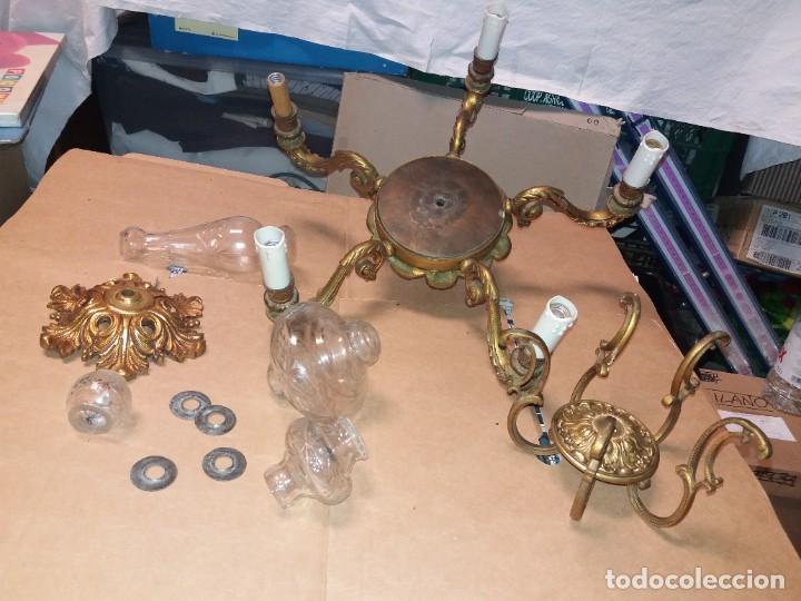 Antigüedades: LAMPARA DE BRONCE DESMONTADA, AÑOS 20 -30. VER FOTOS - Foto 14 - 288005463
