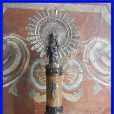 Antigüedades: VIRGEN DEL PILAR DE PLATA CON LA COLUMNA Y BASE DE MARMOL. Lote 288016093