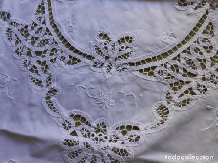 Antigüedades: Manteleria Encajes de Brujas Algodon 100% BLANCO 105 cm /4 Servilletas.Nuevo - Foto 2 - 288036598