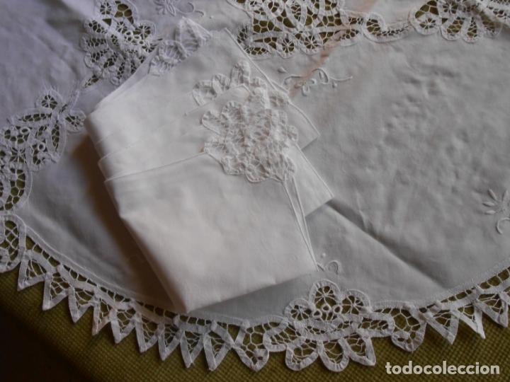 Antigüedades: Manteleria Encajes de Brujas Algodon 100% BLANCO 105 cm /4 Servilletas.Nuevo - Foto 10 - 288036598