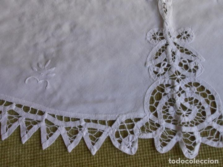 Antigüedades: Manteleria Encajes de Brujas Algodon 100% BLANCO 105 cm /4 Servilletas.Nuevo - Foto 11 - 288036598