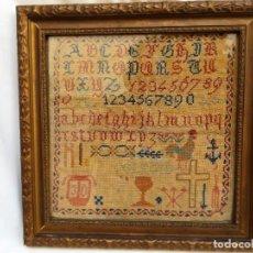 Antigüedades: ANTIGUO ABECEDARIO BORDADO SOBRE TELA. Lote 288071743