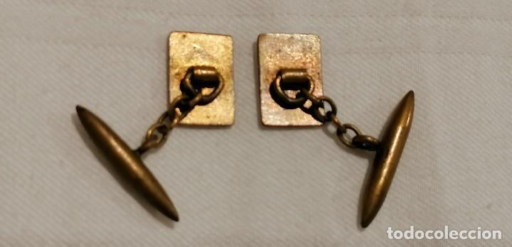 Antigüedades: CURIOSA PAREJA DE GEMELOS ANTIGUOS CON ESMALTE. CARTA AS DE COPAS - Foto 2 - 288075833