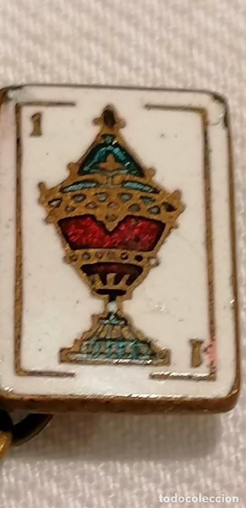 Antigüedades: CURIOSA PAREJA DE GEMELOS ANTIGUOS CON ESMALTE. CARTA AS DE COPAS - Foto 4 - 288075833