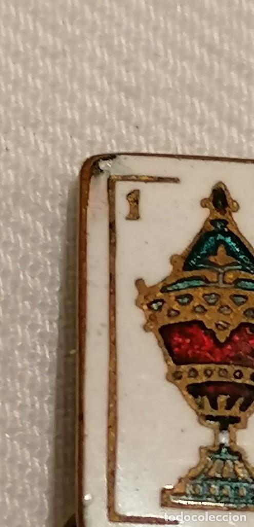 Antigüedades: CURIOSA PAREJA DE GEMELOS ANTIGUOS CON ESMALTE. CARTA AS DE COPAS - Foto 5 - 288075833