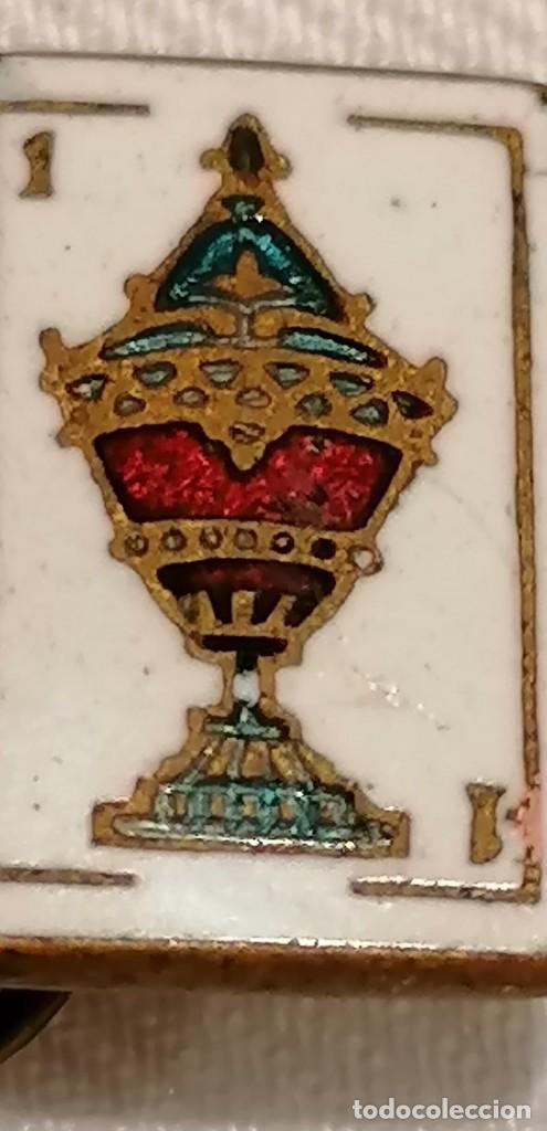 Antigüedades: CURIOSA PAREJA DE GEMELOS ANTIGUOS CON ESMALTE. CARTA AS DE COPAS - Foto 8 - 288075833