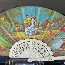 Antigüedades: ABANICO PINTADO A MANO - MOTIVOS FLAMENCOS - BARILLAJE DE PASTA CALADA -. Lote 288104843