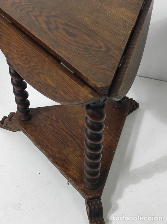 Antigüedades: Pequeña Mesa de Centro - Madera de Roble - Plegable - Años 40 - Foto 5 - 288133103