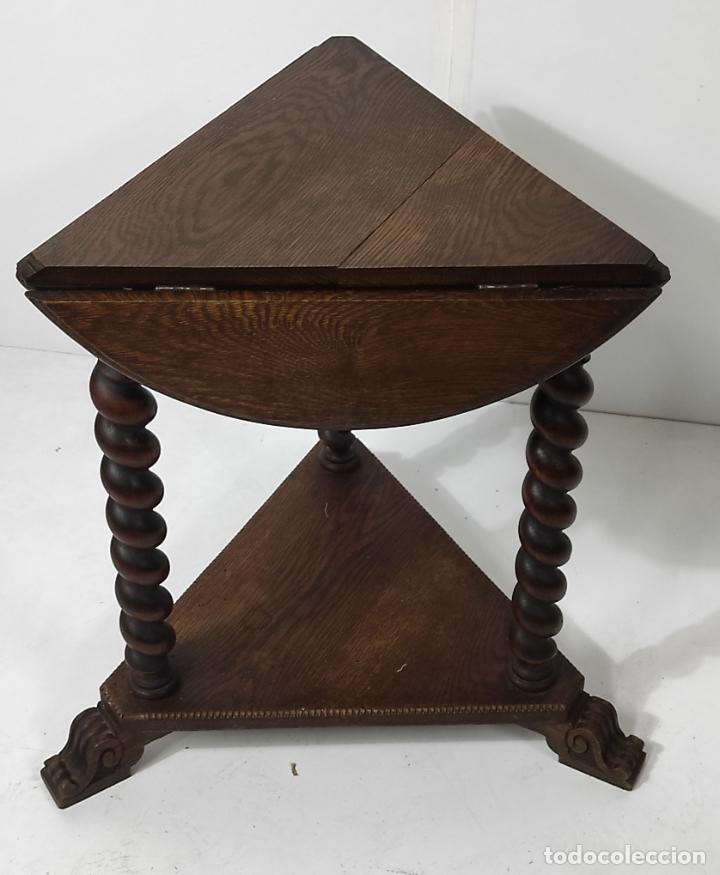 Antigüedades: Pequeña Mesa de Centro - Madera de Roble - Plegable - Años 40 - Foto 6 - 288133103