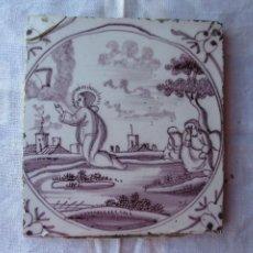 Antigüedades: AZULEJO DELFT SIGLO XVIII BIBLICO. Lote 288216308