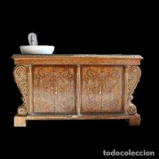 Antigüedades: LAVABO MÓVIL RARO EN MADERA MACIZA TALLADA   RARE MOBILE WASHBASIN IN CARVED SOLID WOOD. Lote 288219318