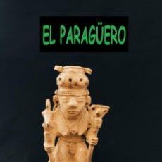 Antigüedades: FIGURA DE ORO TUMBAGA PESO 73 GRAMOS ES UN CHAMAN DE 2 CETROS PRECOLOMBINO QUIMBAYA. Lote 288229443