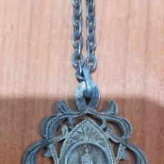 Antigüedades: MEDALLA CON CADENA DE PLATA ANTIGUA NTRA. SRA. DE LLORET DE MAR. VER FOTOS.. Lote 288398598