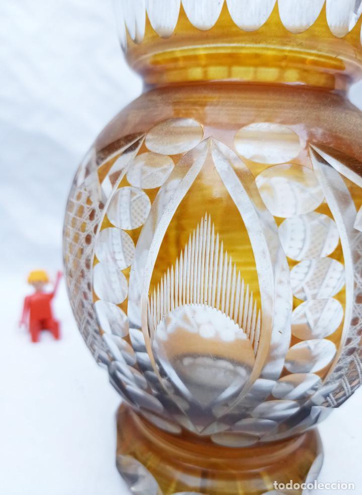 Antigüedades: Gran Jarron antiguo vintage cristal tallado miel de bohemia circa 1930 - Foto 2 - 288401343