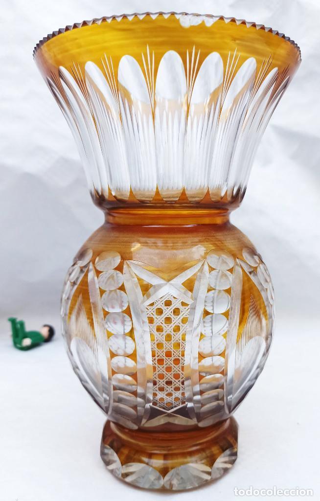 Antigüedades: Gran Jarron antiguo vintage cristal tallado miel de bohemia circa 1930 - Foto 3 - 288401343