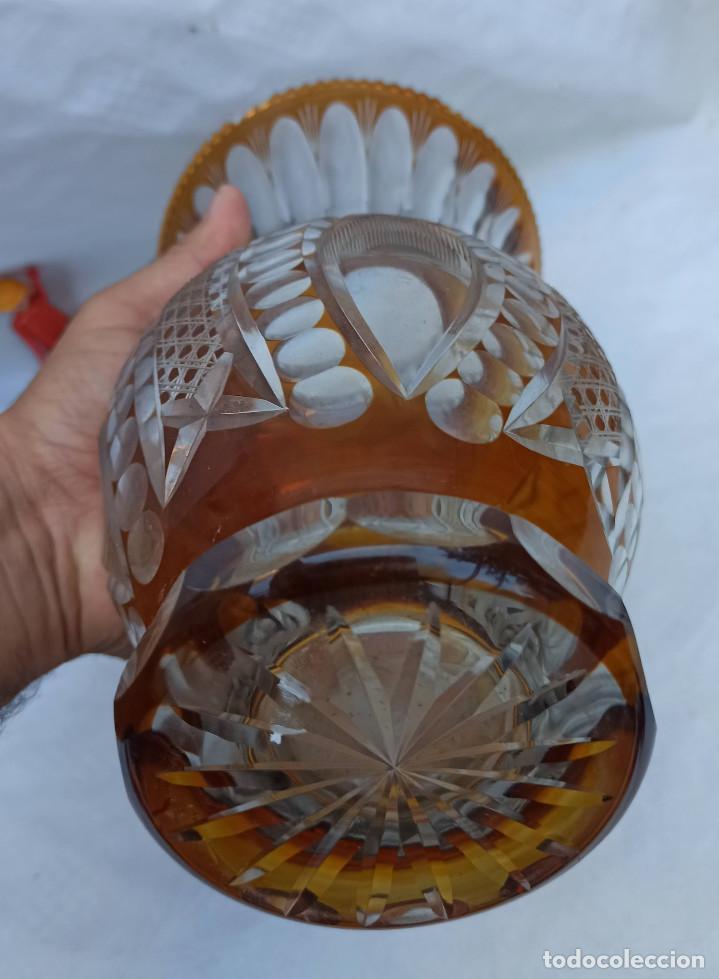 Antigüedades: Gran Jarron antiguo vintage cristal tallado miel de bohemia circa 1930 - Foto 4 - 288401343