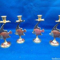 Antigüedades: LOTE DE 4 CANDELABROS EN FORMA DE PEZ. Lote 288402508