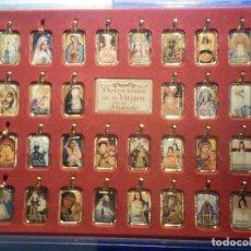 Antigüedades: COLECCIÓN 30 MEDALLAS RELIGIOSAS DEVOCIONES VÍRGEN MUNDO - LÁGRIMA DE RESINA - 35 X 20 MM - LATÓN. Lote 288410813