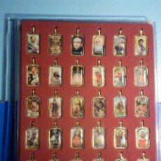 Antigüedades: COLECCIÓN 30 MEDALLAS RELIGIOSAS SANTOS - LÁGRIMA DE RESINA - 35 X 20 MM - LATÓN. Lote 288411598