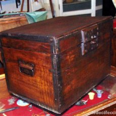 Antigüedades: PEQUEÑO ARCON DE MADERA , ALMIDON DE ARROZ MARCA EL LEON, BUEN ESTADO, AÑOS 20-30. Lote 288440893