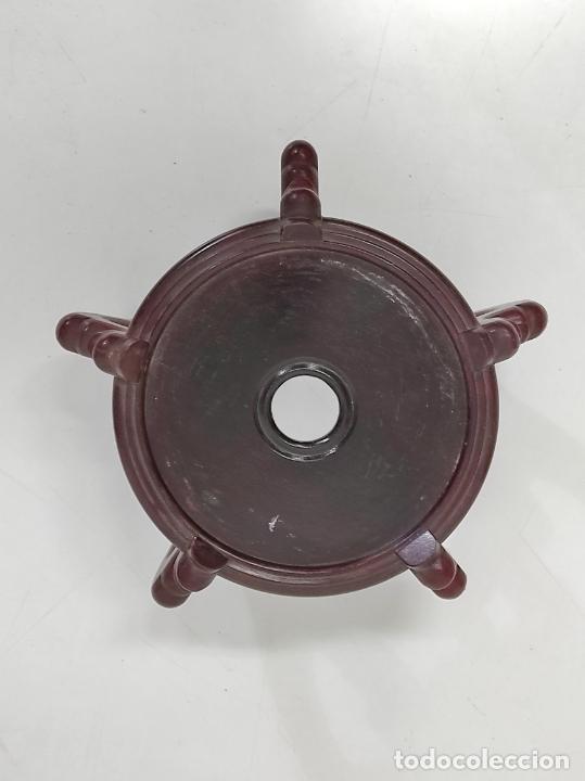 Antigüedades: Gran Jarrón Chino - Porcelana Azul y Rosa - Con Peana - Altura Total 101 cm - Foto 20 - 288486033