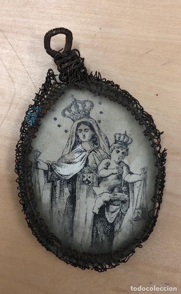 Antigüedades: ESCAPULARIO ANTIGUO CON DOBLE IMAGEN. SOBRE TELA. COLOREADO. EN ESTUCHE DE CUERO - Foto 2 - 288505388