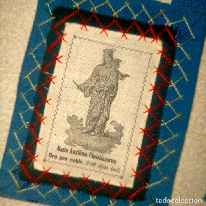 Antigüedades: ANTIGUO ESCAPULARIO CON VIRGEN MARIA AUXILIADORA RARO MODELO ARCHICOFRADIA Y ESCUDO SALESIANO - Foto 2 - 288561728