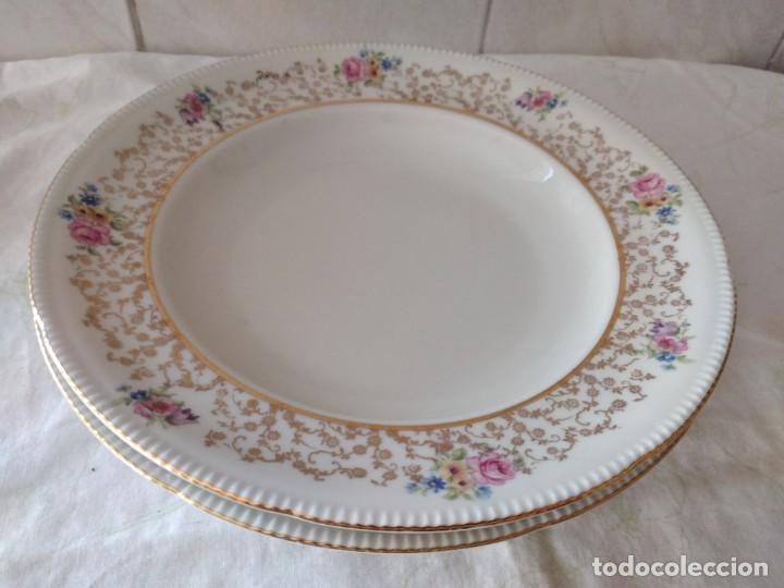 Antigüedades: Lote de 2 preciosos platos hondos de porcelana r bavaria,decorados con flores y oro - Foto 2 - 288570243