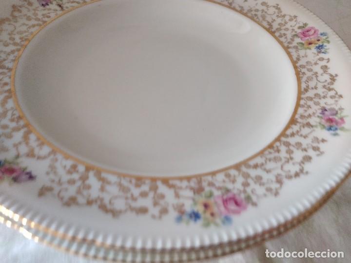 Antigüedades: Lote de 2 preciosos platos hondos de porcelana r bavaria,decorados con flores y oro - Foto 3 - 288570243
