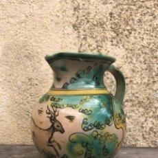 Antigüedades: BONITA JARRA PUENTE DEL ARZOBISPO PINTADA Y ESMALTADA CON MOTIVO DE CIERVO.. Lote 40319410