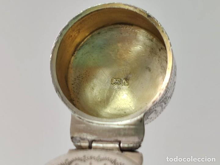 Antigüedades: Antiguo perfumero frasco de plata para perfume, tapón original en cristal 1900s - Foto 14 - 288587283