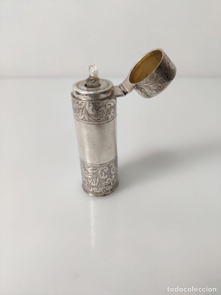 Antigüedades: Antiguo perfumero frasco de plata para perfume, tapón original en cristal 1900s - Foto 15 - 288587283