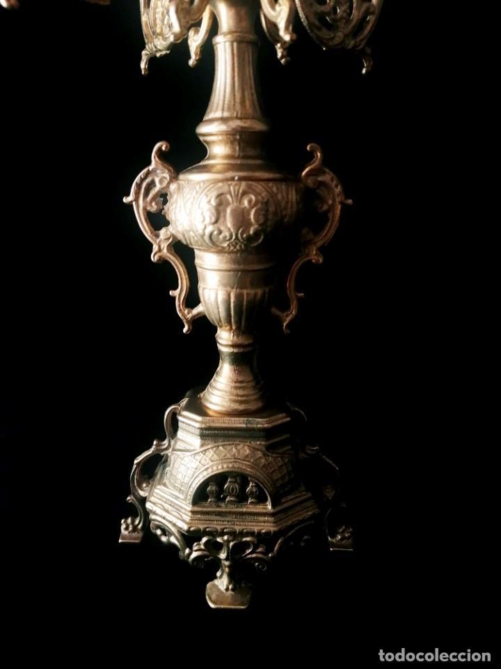Antigüedades: Antiguo candelabro Estilo Luis XVI - Bronce patinado - 4 brazos - Foto 5 - 288602488