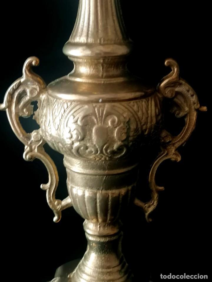 Antigüedades: Antiguo candelabro Estilo Luis XVI - Bronce patinado - 4 brazos - Foto 6 - 288602488