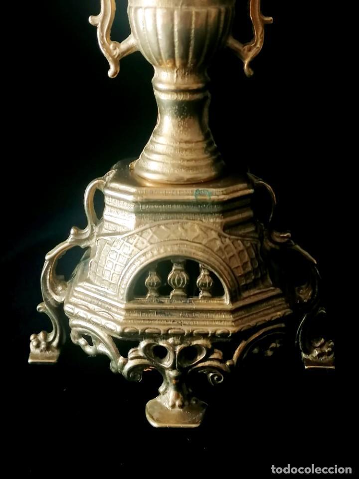 Antigüedades: Antiguo candelabro Estilo Luis XVI - Bronce patinado - 4 brazos - Foto 7 - 288602488