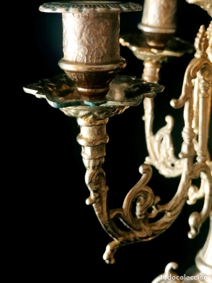 Antigüedades: Antiguo candelabro Estilo Luis XVI - Bronce patinado - 4 brazos - Foto 8 - 288602488