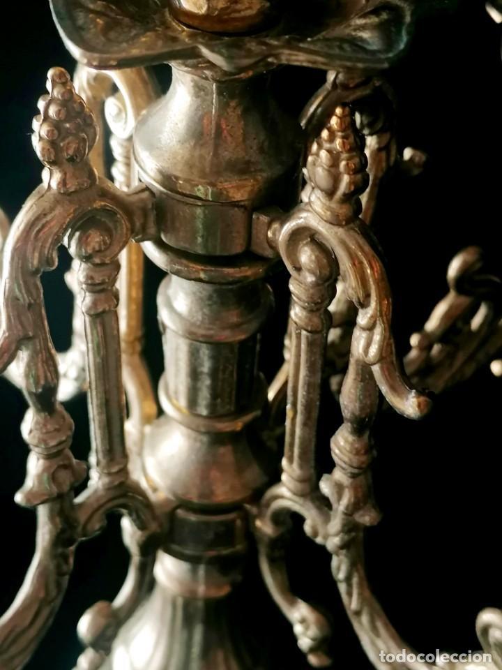 Antigüedades: Antiguo candelabro Estilo Luis XVI - Bronce patinado - 4 brazos - Foto 14 - 288602488