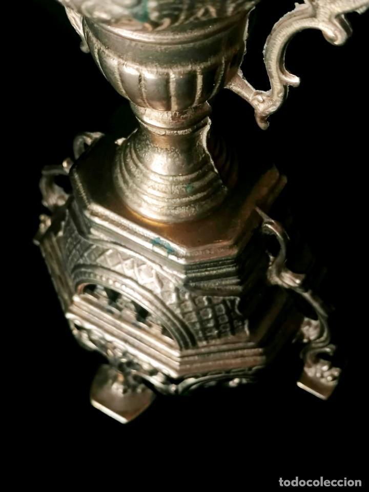 Antigüedades: Antiguo candelabro Estilo Luis XVI - Bronce patinado - 4 brazos - Foto 16 - 288602488