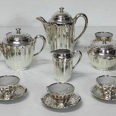 Antigüedades: JUEGO DE CAFÉ - PORCELANA PLATEADA - BAÑO DE PLATA - 12 TAZAS COMPLETO. Lote 288635893