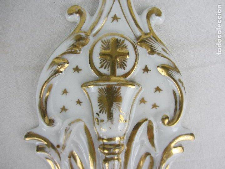 Antigüedades: Benditera en porcelana del siglo XIX - Foto 6 - 288650638