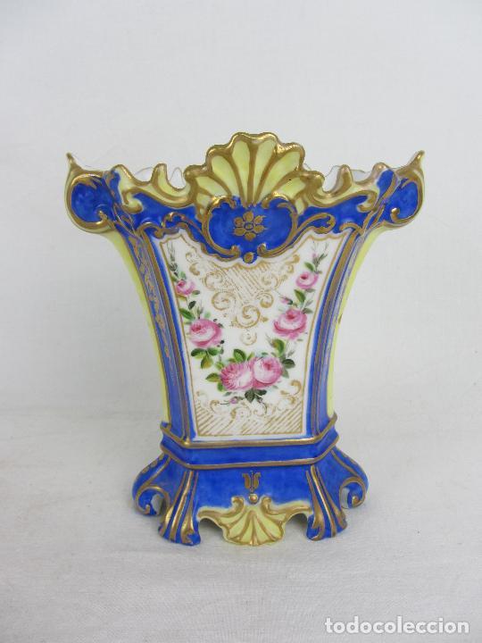 """Antigüedades: Jarrón en porcelana """"Viejo París"""" pintado a mano, siglo XIX - Foto 3 - 288680258"""