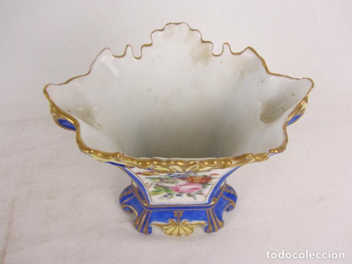 """Antigüedades: Jarrón en porcelana """"Viejo París"""" pintado a mano, siglo XIX - Foto 5 - 288680258"""
