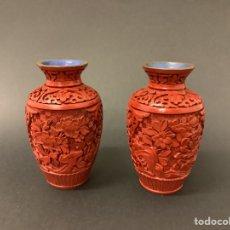 Antiquités: PAREJA DE JARRONES LACA ROJA CINABRIO - CHINA MITAD SIGLO XX. Lote 288681458